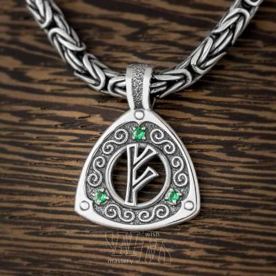 Руна Феху из серебра с драгоценными камнями